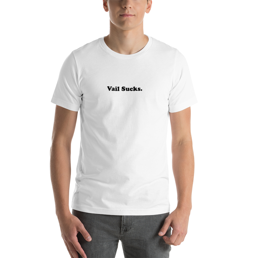 White Mens T-shirt Vail Sucks