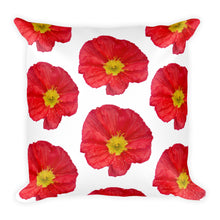 Three Red Poppies (And More) | 18x18 Square Pillow with Insert