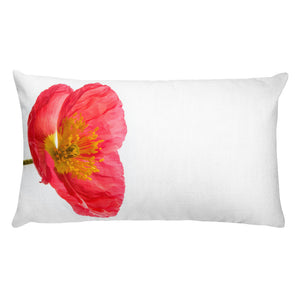 Pink Icelandic Poppy No.1| Rectangular 20x12 Decorative Pillow