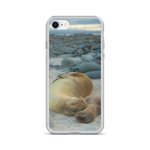 Galápagos Sea Lions: Mama & Newborn | iPhone Case (All Sizes)