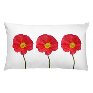 Three Red Poppies | Rectangular 20x12 Decorative Pillow