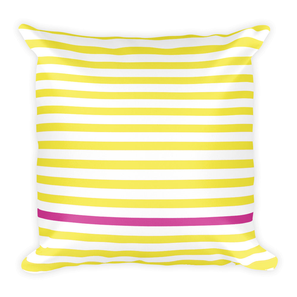Summer Stripes (Lemonade + Pink) Square Pillow