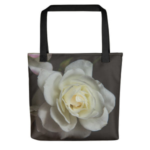 White Rose Tote Bag // Modern Flower // Original Photography by Karen Sanders // Romantic Motif