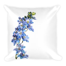 Tie-Dyed Blue Belladonna Delphinium | 18x18 Square Pillow with Insert