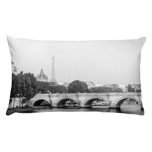 Pillow with Print of Eiffel Tower behind a Paris Bridge