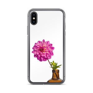 Hot Pink Dahlia in Vintage Brown Bottle Vase | iPhone Case (All Sizes)