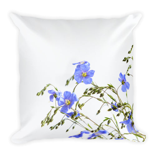 Blue Flax Wildflowers | 18x18 Square Pillow with insert