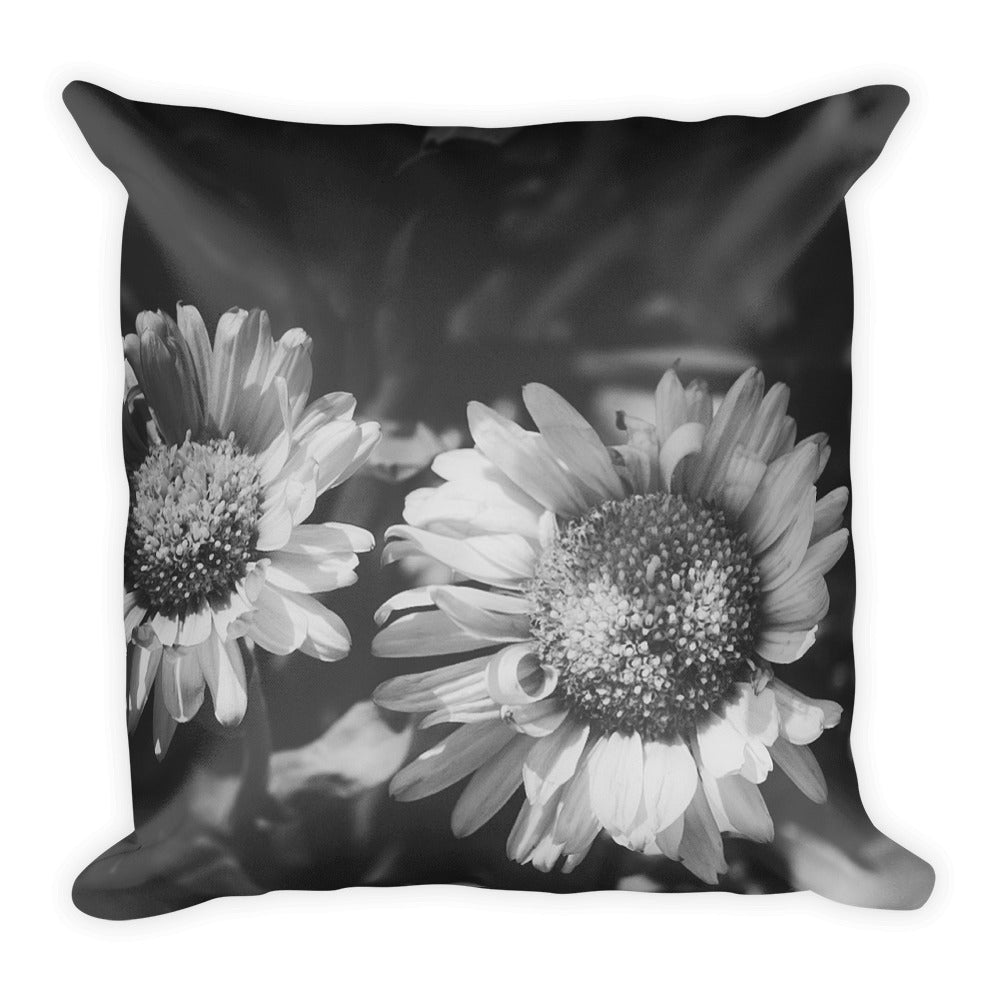 Sunflowers in Black and White | 18x18 Square Decorative Pillow