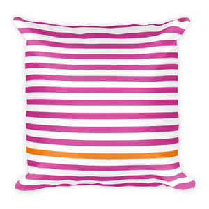 Summer Stripes (Pink + Tangerine) 18x18 Square Pillow