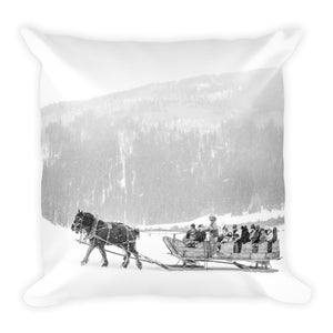 Pine Creek Sleigh Ride (Aspen, Colorado) | 18x18 Square Pillow with Insert