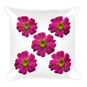 Hot Pink Zinnias | 18x18 Square Pillow with Insert