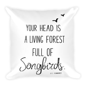 "EE Cummings ""Living Forest"" Quote Pillow 