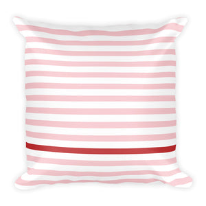 Summer Stripes (Blush + Cherry) | Square Pillow