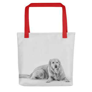 Quinn in the Snow | Golden Retriever |  15x15 Tote Bags