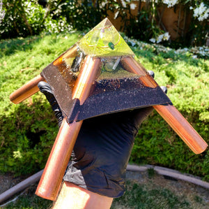 "The ""Jumbo Giza Mini-Chembuster - 6x6"" base; double coated; Orgone Earth Pipes for grounding"