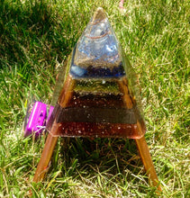 "The ""Nubian Chakra Equalizer Mini-Chembuster"" - 8 Sided, Pulsed, Radionics Orgone Pyramid w/ Earth Pipes for grounding"