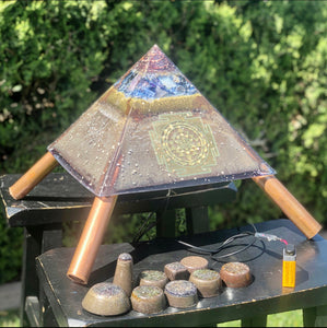 "The ""XXL Jumbo Giza Equalizer Chembuster"" - 18-20 lbs- 11x11"" base- Pulsed Radionics Orgone Pyramid w/ Earth Pipes for grounding, Tensor Ring"