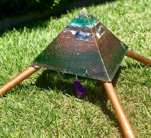 "The ""XXL Jumbo Giza Equalizer Mini-Chembuster"" - 20 lbs- 11x11"""" base- Pulsed Radionics Orgone Pyramid w/ Earth Pipes for grounding"