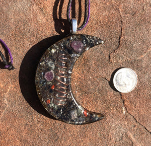 "The ""Large Crescent Luna"" Orgone Amulet 🌙- Aura Protection"