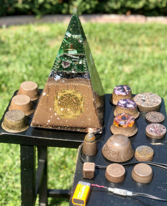 "The ""Russian Pack"" - 1' tall, 10 lb Radionics Orgone pyramid @ 15 or 30,000 Hz pulse, 6 Towerbusters, Appliance Shields, 6 or 9 freebies- 5G defense"