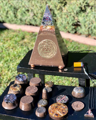 "The ""Russian Pack"" - 1' tall, 10+ lb Radionics Tensor Ring Orgone pyramid @ 15 or 30,000 Hz pulse, 6 Towerbusters, Appliance Shields, 6 or 9 freebies- 5G defense"