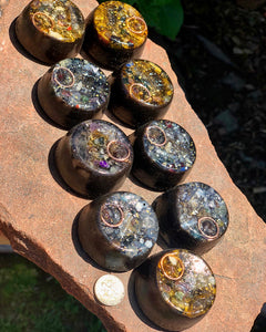 "9-pack of ""Microcosmic TowerBusters"" -Coiled Quartz, Garnet, Selenite, Tourmalines, Quartz Sand + MMSSO matrix"