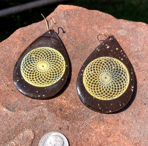 "The ""Teardrop Orgone Earrings""- 18k gold grid of your choice"