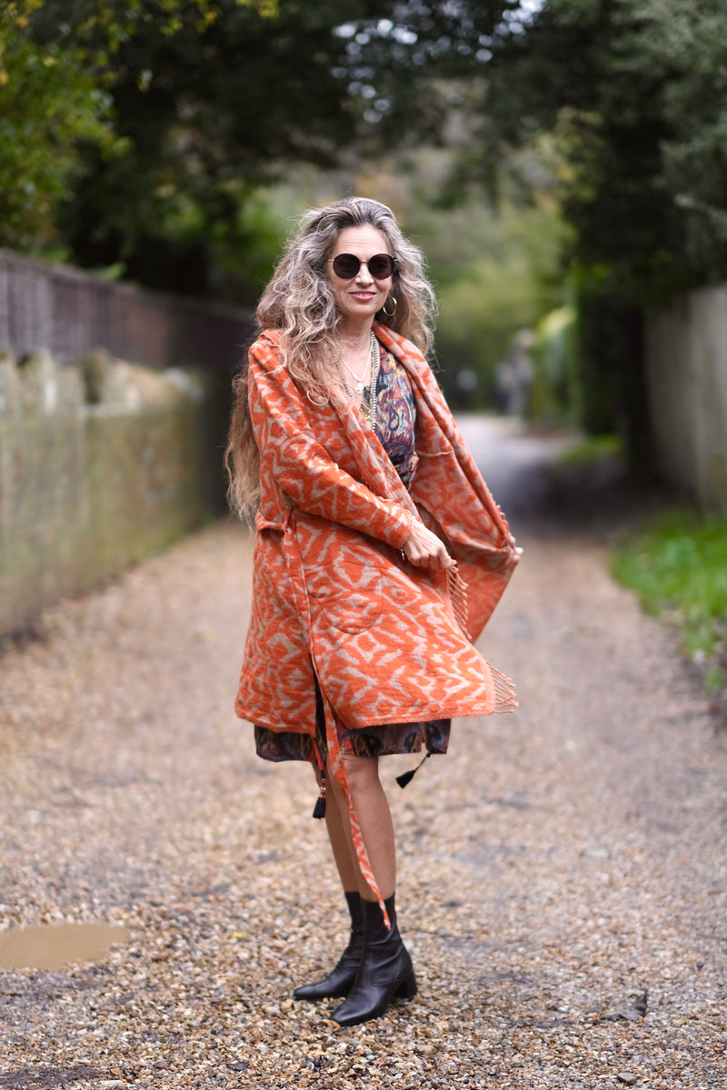 Cheryl Tangerine Boiled Wool Coat