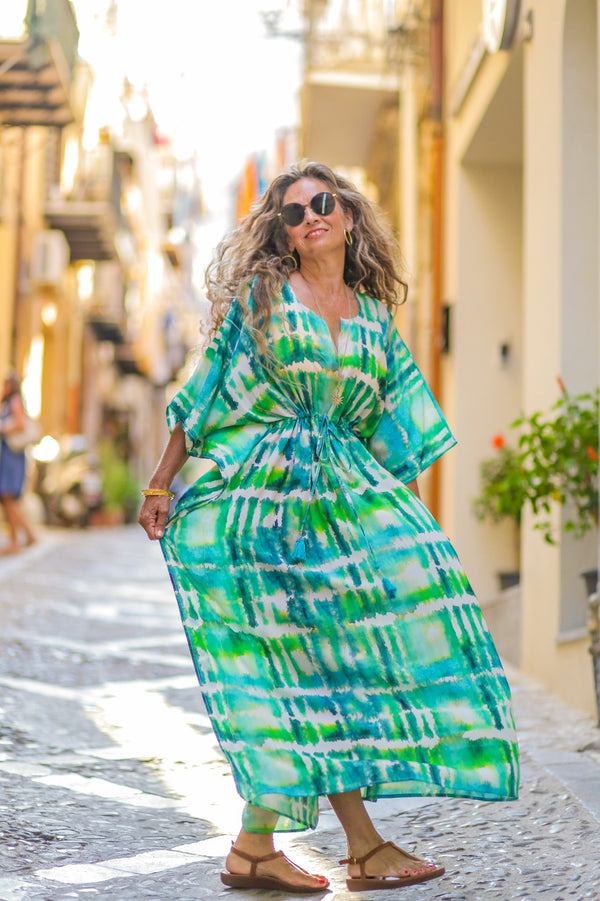 Italian Silk Serenity Maxi Kaftan Dress