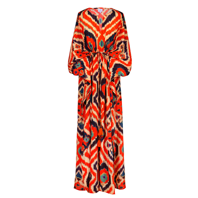 Angelo Tangelo Ikat Italian Silk Maxi Kaftan Dress