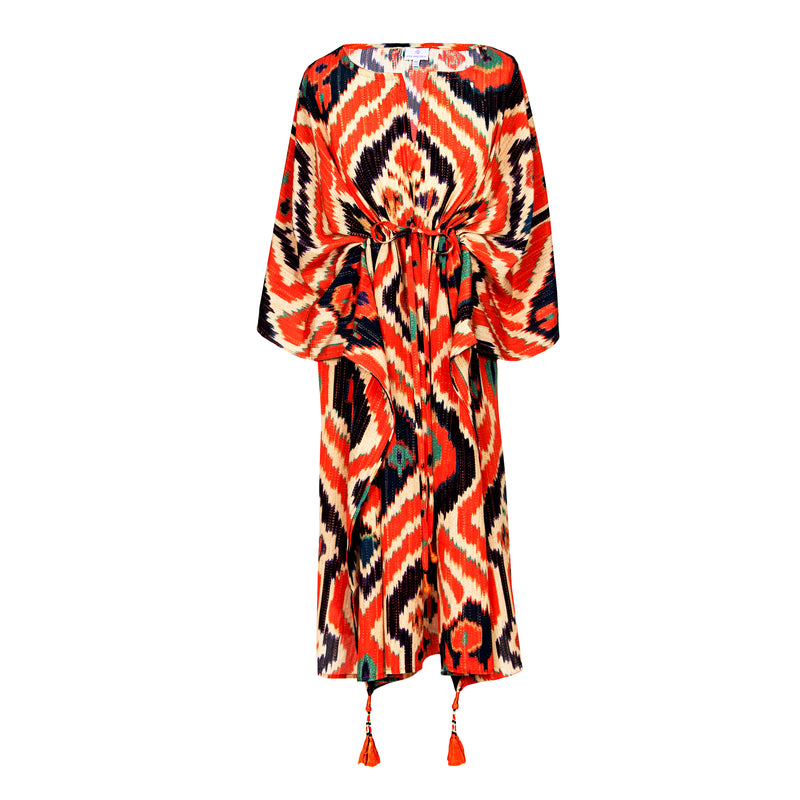 Angelo Tangelo Ikat Italian Silk Midi Kaftan Dress