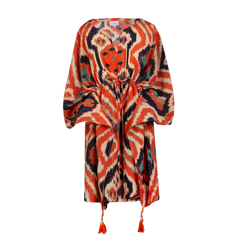Angelo Tangelo Ikat Italian Silk Short Kaftan ON BACK ORDER 4-6 WEEKS