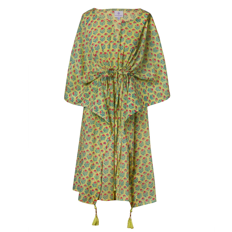 Apple Green Jaipur Floral Midi Kaftan Dress
