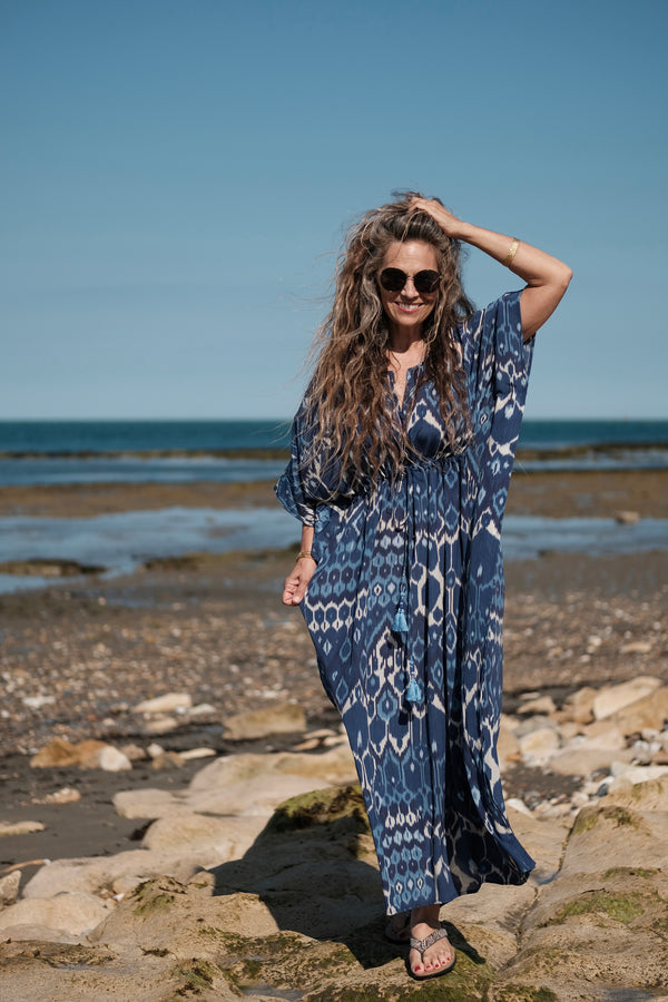 Blu Vita Italian Silk Maxi Kaftan Dress