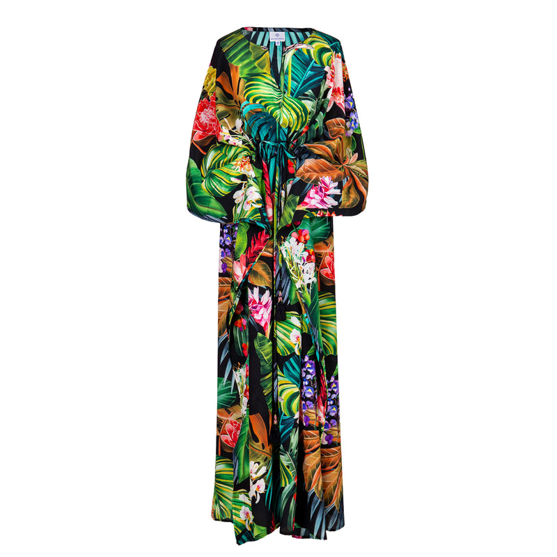 Black Botanica Italian Silk Maxi Kaftan Dress