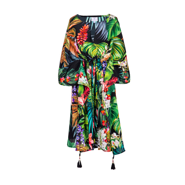 Black Botanica Italian Silk Midi Kaftan Dress