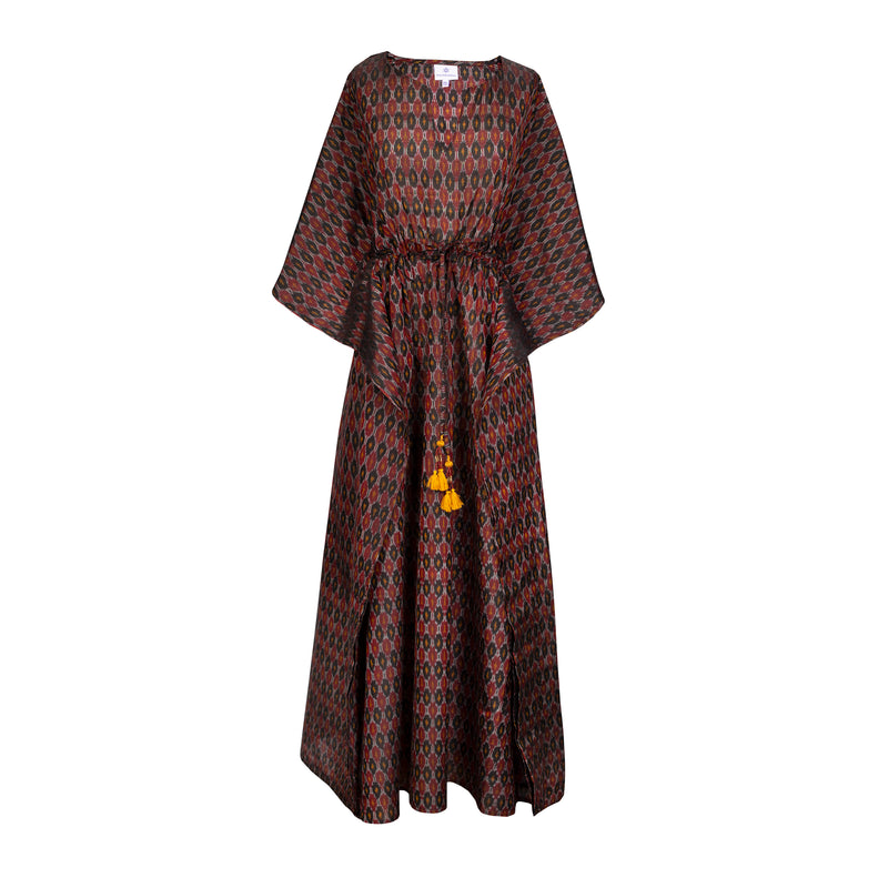 Eleganza Silk Cotton Ikat Maxi Kaftan DressONLY TWO AVAILABLE