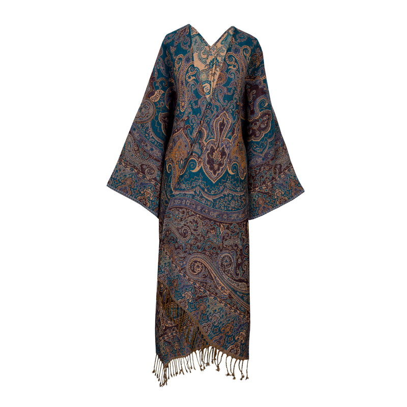 Peacock Paisley Kimono Coat ONE OF A KIND Boiled Wool