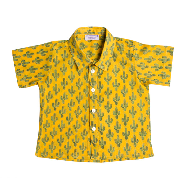 Prickly Pax Cactus Yellow Baby Button up Shirt-PRE-ORDER