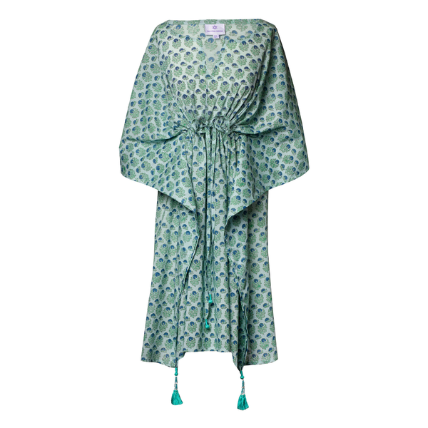 Jaipur Crystal Blue Floral Midi Kaftan Dress