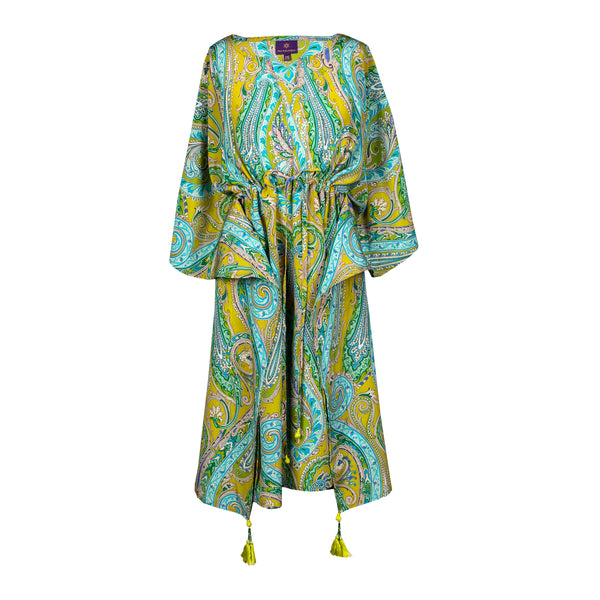 Electric Principessa Paisley Italian Silk Midi Dress