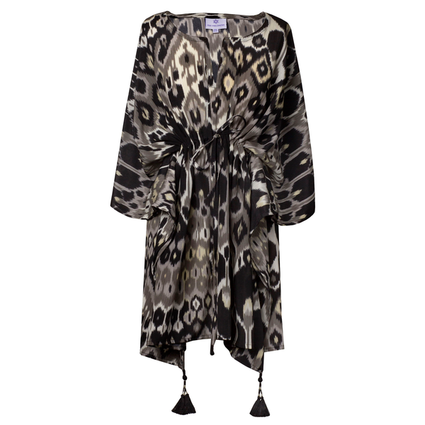 Elegante Vita Italian Silk Short Kaftan Dress