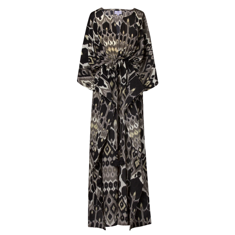 Elegante Vita Italian Silk Maxi Kaftan Dress ONE LEFT
