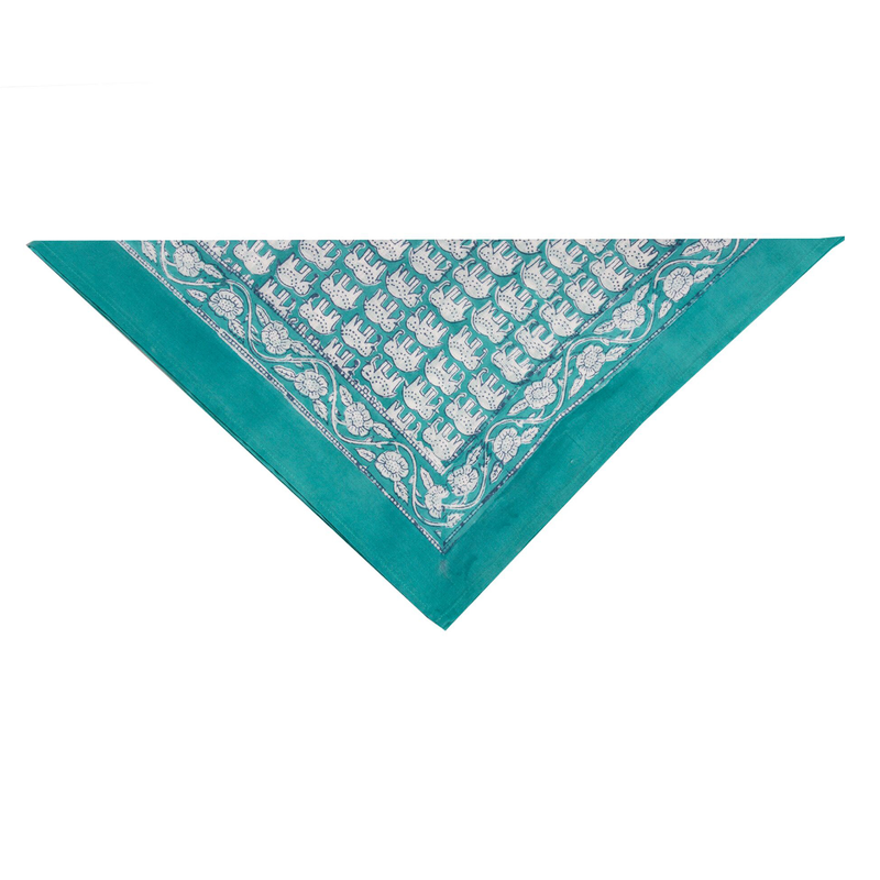 Elephant Bandana In Turquoise and Steel Blue