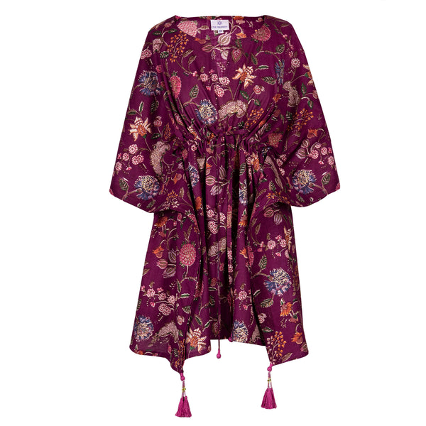 Plum Floreale Short Kaftan Dress