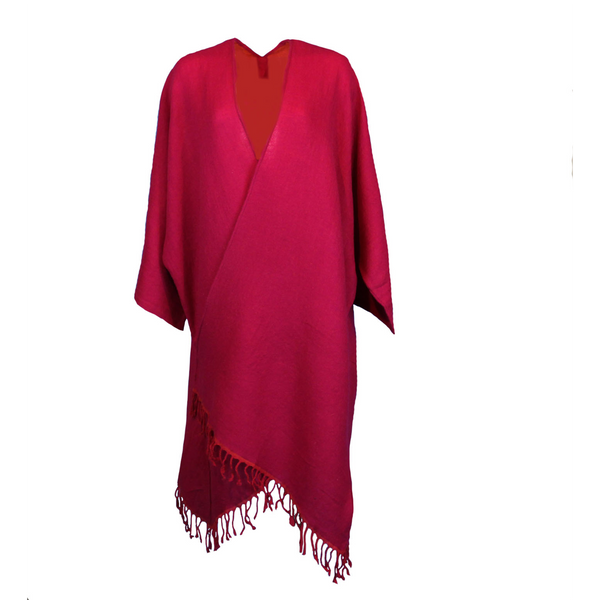 Super soft Fuschia Boiled Wool Kimono coat