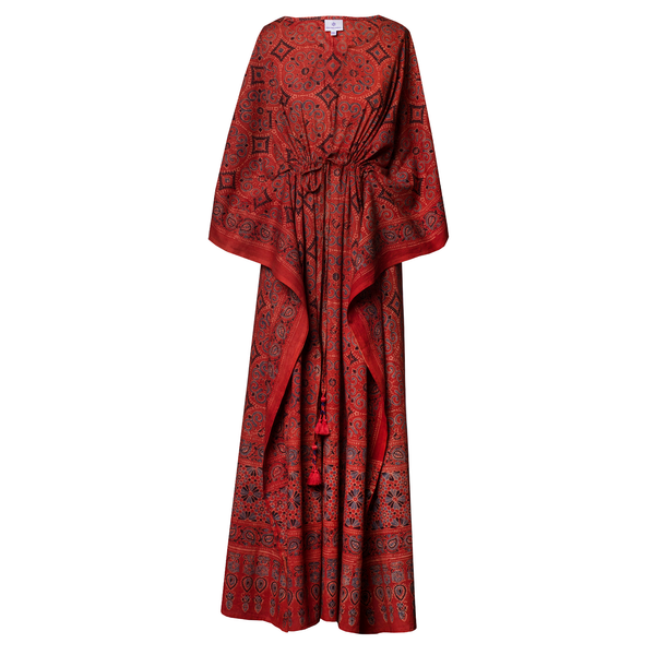Geometrica One of a Kind Natural Dyed Maxi Kaftan Dress