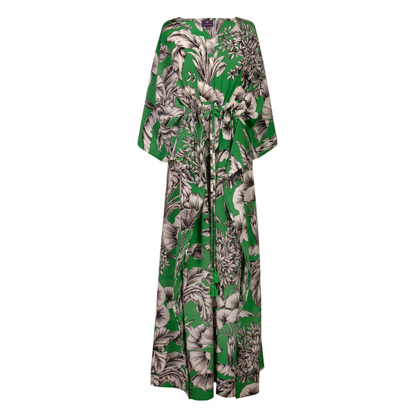 Giardino Verde Italian silk maxi kaftan dress ONE LEFT