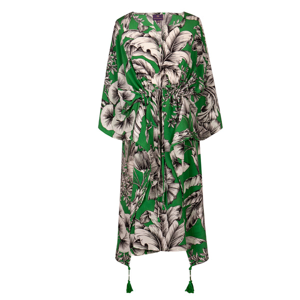 Giardino Verde Italian silk midi dress