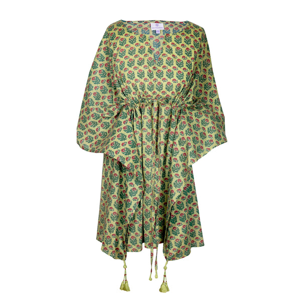 Jaipur Apple Green Floral Short Kaftan Dress